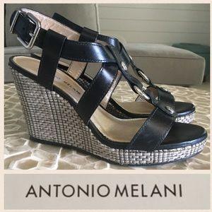 LIKE NEW Antonio Melani Campbell T-strap wedge